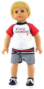 Little Firecracker Red, White, & Blue Patriotic Short Set