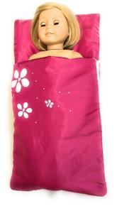 Sleeping Bag with Flowers-Dark Pink