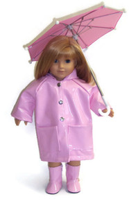Raincoat, Umbrella, & Boots-Pink