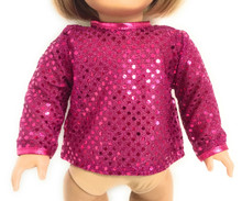 Sequined Long Sleeved Blouse-Hot Pink