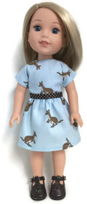 Kangaroo Print Dress for Wellie Wishers Dolls