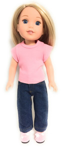 Pink Knit Top & Dark Denim Jeans for Wellie Wishers Dolls