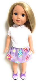 White Blouse Top & Lavender Ladybug Skirt for Wellie Wishers Dolls