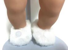 Fuzzy Slippers with Pom Poms-White