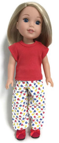 Red Knit Top & Flower Print Pants for Wellie Wishers Dolls