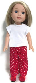 White Knit Top & Red Polka with White Polka Dots Pants for Wellie Wishers Dolls