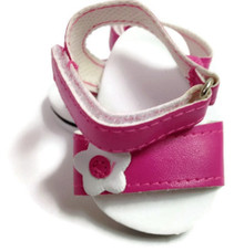Sandals-Bright Pink with Floral Accent