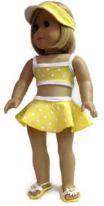 Bikini, Visor, & Sandlas-Yellow Polka Dot