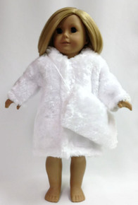 Faux Fur Coat & Muff-White