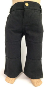 Denim Pants with Pockets-Black