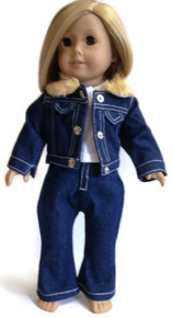 Jean Jacket with Faux Fur Trim, Jeans, & Top