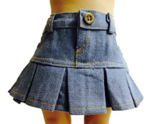 Light Denim Jean Skirt-Pleated
