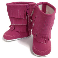 Fringed Boots-Dark Pink