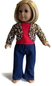 Leopard Print Jacket, Red Top, & Jeans