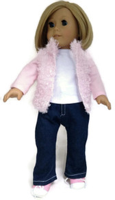Pink Fluffy Vest, Long Sleeved Top, & Jeans