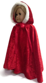 Cape-Red with Faux Fur Trim