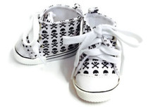 High Top Canvas Sneakers-Skull & Crossbones
