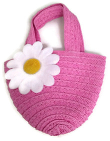 Straw Bag-Pink with Daisy Accent