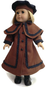 Wool Victorian Coat & Beret-Brown