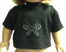 Short Sleeved T-Shirt with Butterfly Accent-Black