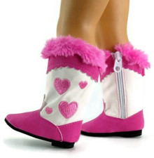 Cowboy Boots-Bright Pink Heart with Fur Trim