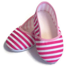 Canvas Slip On Shoes-Pink & White Striped