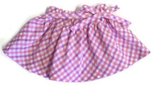 Plaid Skirt with Tie Bow-Pink & Lavender