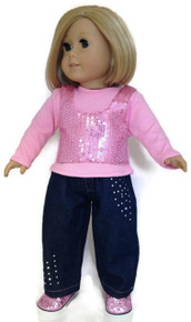 Pink Sequined Top & Jeans with Rhinestones