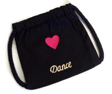 Dance Black Canvas Drawstring Backpack - Dori's Doll Boutique