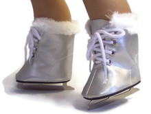Ice Skates-Silver with White Fur Trim