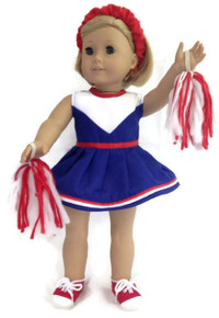 Cheerleader-Red, White, & Blue with Pom Poms & Hair Schrunchie