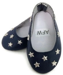 Flats with Silver Stars-Navy