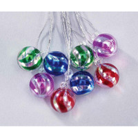 Ornament - Striped Clear Ball - Assorted Colors - 11mm - 8 pieces