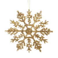 Snowflake - Glittered Gold - 4 inches - 10 pieces