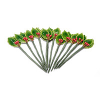 3 Holly Leaves Green with 3 Berries Red - Lacquered - 7/8 inch - 12 pieces