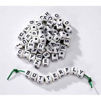 Alphabet Beads - Cube - Assorted - White with Black Letters - 12mm