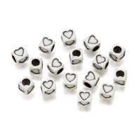 Alphabet Beads - Cube - White with Black Dots and Hearts - 6mm