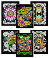 Geometric Butterflies, Ladybugs, Apple, Aztec, Flower Power, Hourglass (6-Pack)