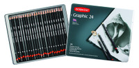 DERWENT COMPLETE GRAPHIC PENCIL 24PCS TIN