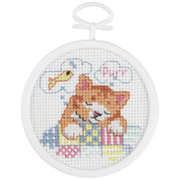 Dreaming Kitty Mini Counted Cross Stitch Kit