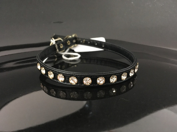 Black with clear crystals 12""