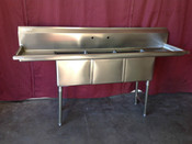 3 Compartment Sink 20X20 Stainless Steel NSF NEW GSW SH20203D #5824