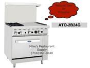 "36"" Range 2 Burner 24"" Griddle & Gas Oven Cook Rite ATO-2B24G NEW #6040"