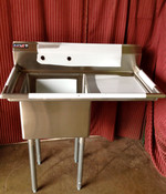 1 Compartment Food Prep Sink 18x18 w/Right Drain Board NEW Atosa MRSA-1-R #7001