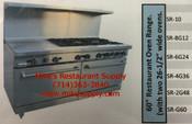 """60"""" Range 4 Burner & Griddle & Gas Ovens Stratus SR-4G36 LP NEW #7276"""