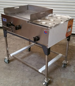 "36"" Taco Cart Griddle & Steam Table On Wheels LP SCC-36-G22-1S (NEW) #1189"