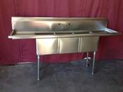 3 Comp. Sink 14X10 Bowls NSF NEW GSW SE10143D #2077
