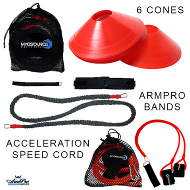 Includes: 1-Acceleration Speed Cord, 1-ArmPro Bands, and 6-Training Cones