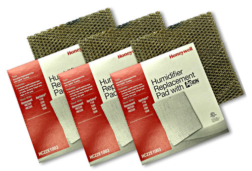 Honeywell HC22E1003 3 pack of humidifier pads with Agion anti microbial shield for use in furnace and heat pump humidifiers.