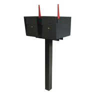 Two Locking Mailboxes with Spreader Bar and Post